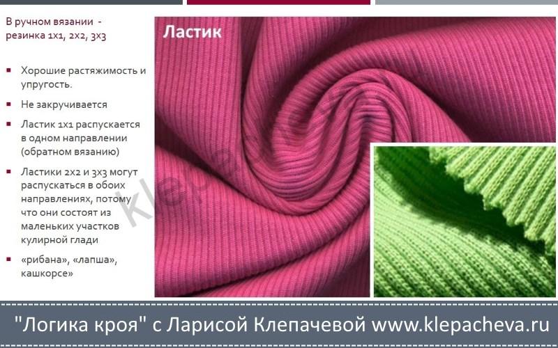 Трикотажное полотно ластик и его свойства