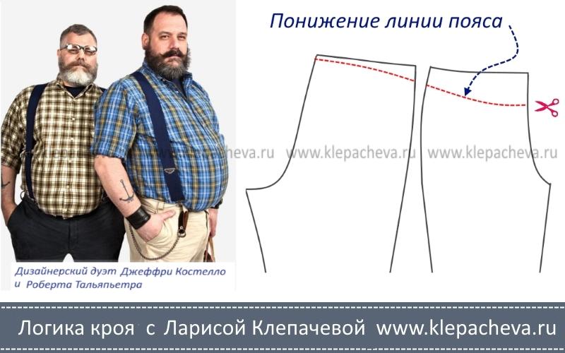 Выкройка брюк на мужчин с выступающим животом