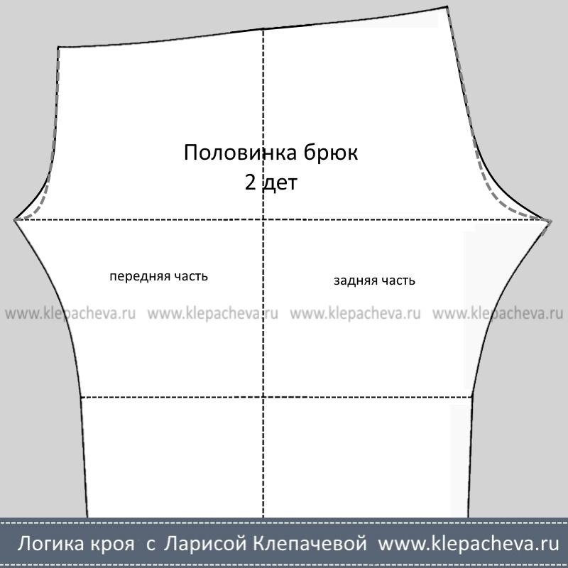 Выкройка брюк после уточнения