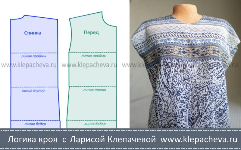 выкройка платья со спущенным плечом