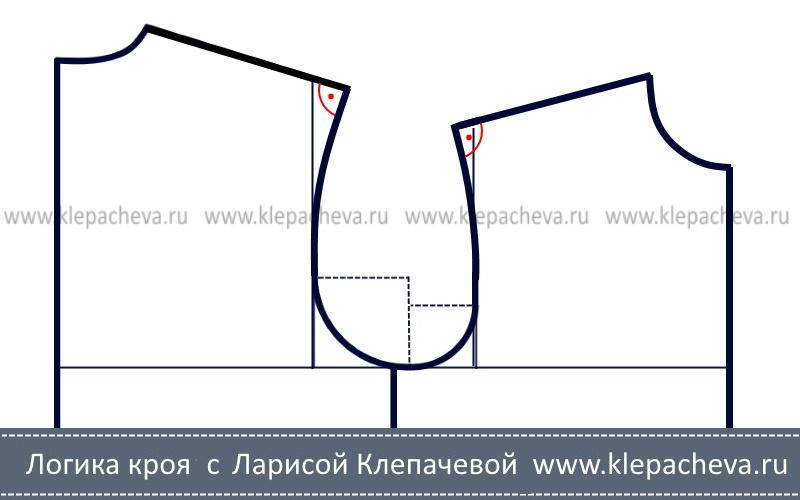 Как построить плечо мужской рубашки